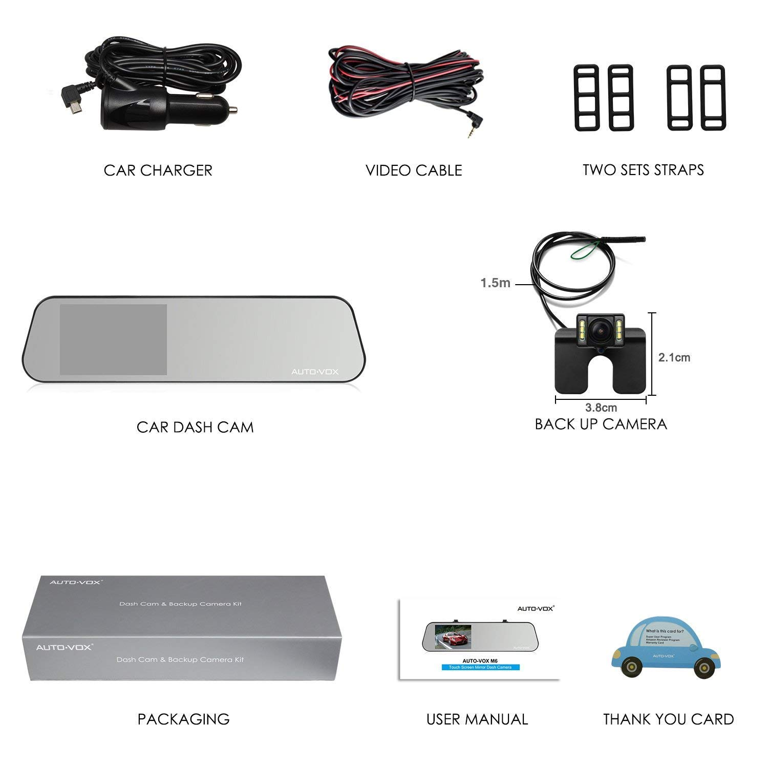 AUTO-VOX 2A Dash Cam Hardwire Kit Mini Fuse Adapter Car Charger Cable12.74 ft Compatible with X1//X2//A1//M8//V1//A118//M6//N2//G1W GPS Navigator Radar Detector and All Other Mini USB Port Devices