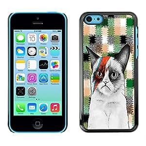 - Chevron Grumpy Cat - - Monedero pared Design Premium cuero del tir¨®n magn¨¦tico delgado del caso de la cubierta pata de ca FOR Apple iPhone 5C Funny House