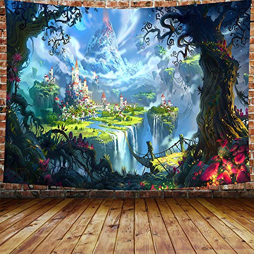 Fantasy World Forest Tapestry Cartoon Castle Tapestry Green Magic Tapestry for Bedroom Living Room Dorm Decor 80×60 Inches DBZY0629