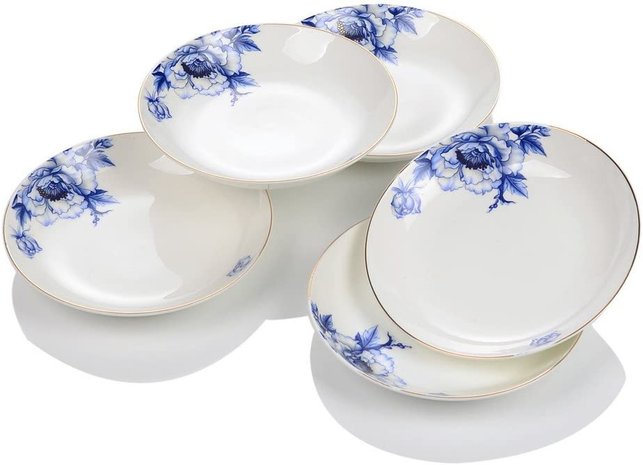 Porlien Elegance Collection Chinese Blue Flower Porcelain Dinnerware Set-46 Pieces, Service for 10