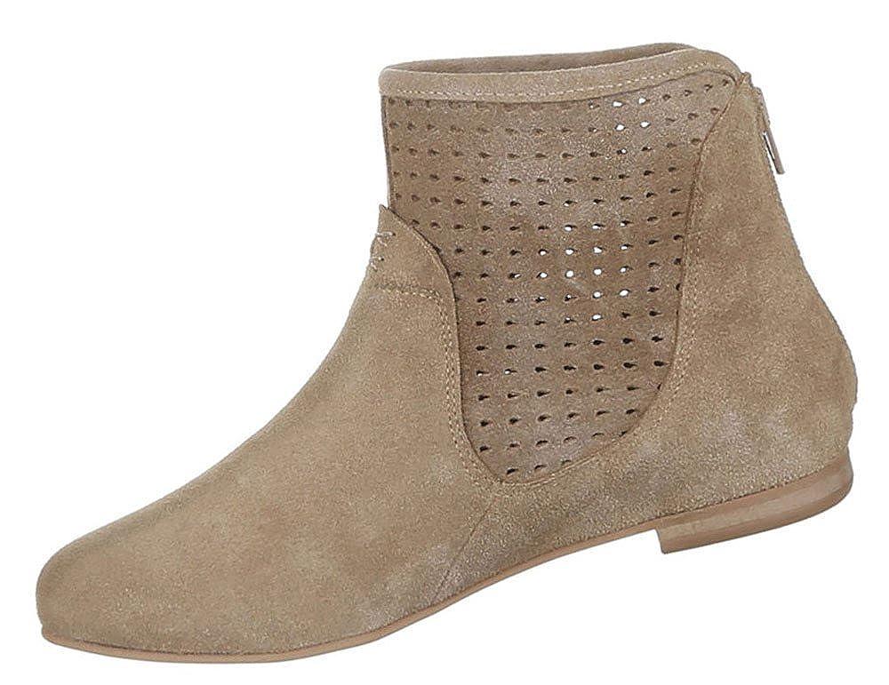 Damen Stiefeletten Schuhe Stiefeletten Damen Perforierte Leder Stiefel Hellbraun a8f738