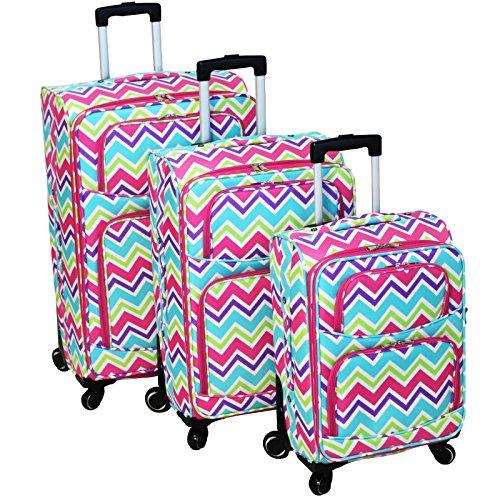 World Traveler 3 Piece Expandable Upright Spinner Luggage Set, Pink Trim Chevron...