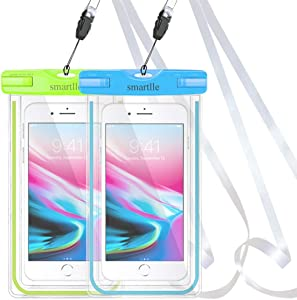 """Waterproof Phone Pouch, 2 Pack IPX8 Cellphone Dry Case Bag for Apple iPhone Xs, XR, XS MAX, X, 8, 7, 6s Plus, SE, Samsung S9+ S9 S8+ LG Up to 6.5"""", Snowproof Dirtproof Outdoor Sports (Blue+Green)"""