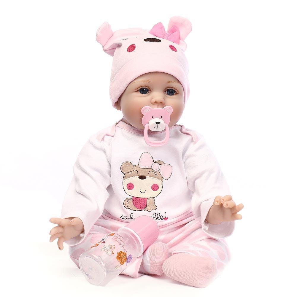 NPK人形RebornベビーおもちゃソフトシリコンかわいいリアルなDolls新生児赤ちゃんwith服   B07BHP2MX6