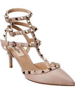 3046484e28a79 Amazon.com | VALENTINO Rockstud Cage 65 Leather Ankle Strap Pump, 37 ...