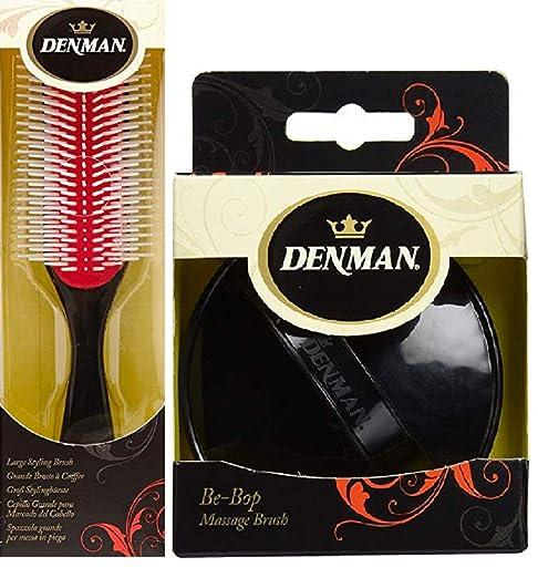 Denman Cushion Brush Nylon Bristles, 9-Row + Be-Bop Massage Brush, Twister, Shampoo Brush