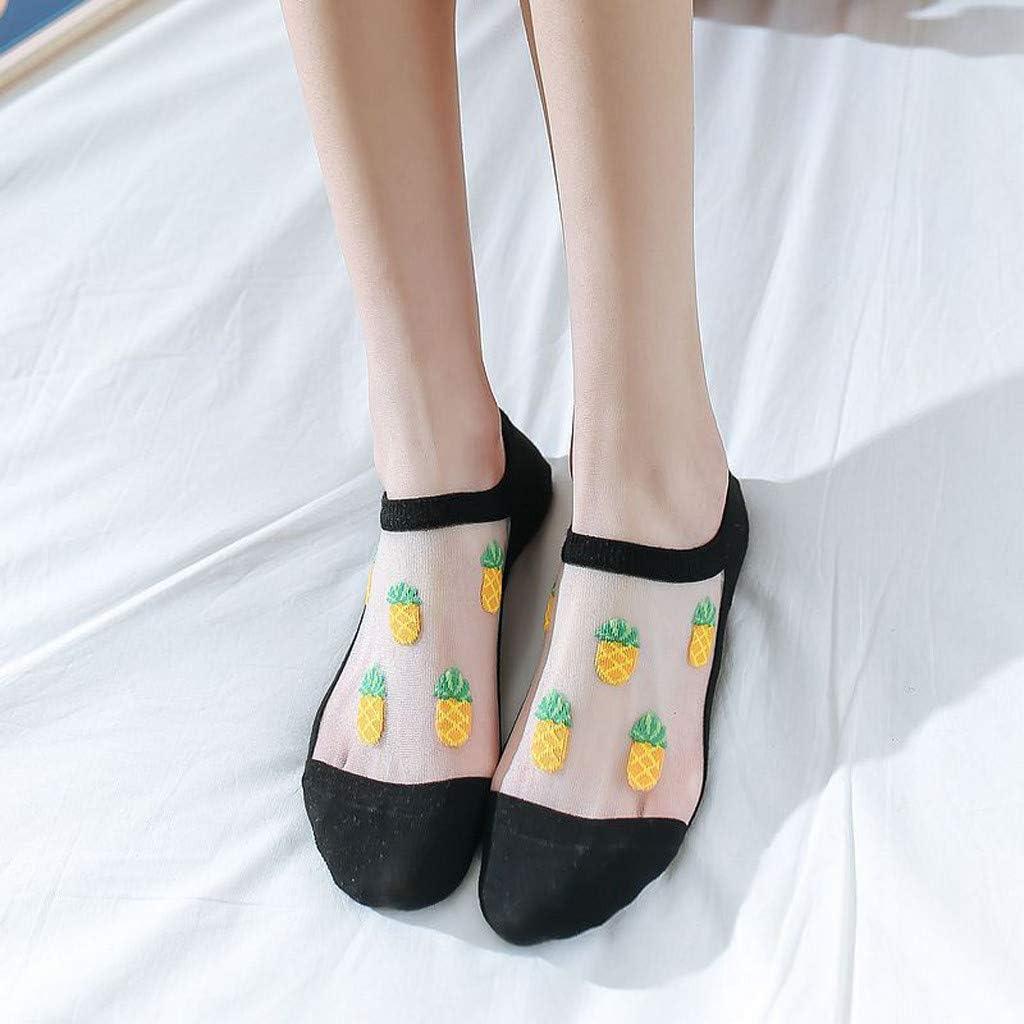 Women Lace No Show Socks Novelty Fruit Print Invisible Low Cut Socks Silky Sheer Short Stockings Anti-Slip Hidden Crystal Hosiery Casual Sock