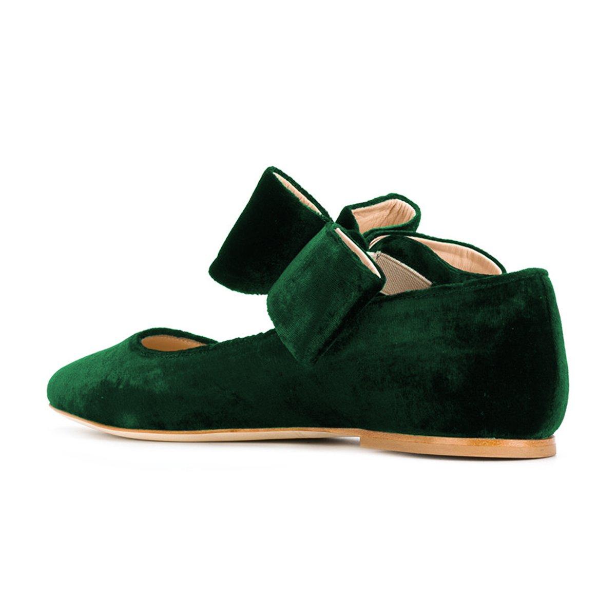 FSJ Women Cute Pointed Toe Flats With Bowknot Velvet Low Heels Slip On Comfy Shoes Size 4-15 US B076Q9K31Z 6 B(M) US|Green