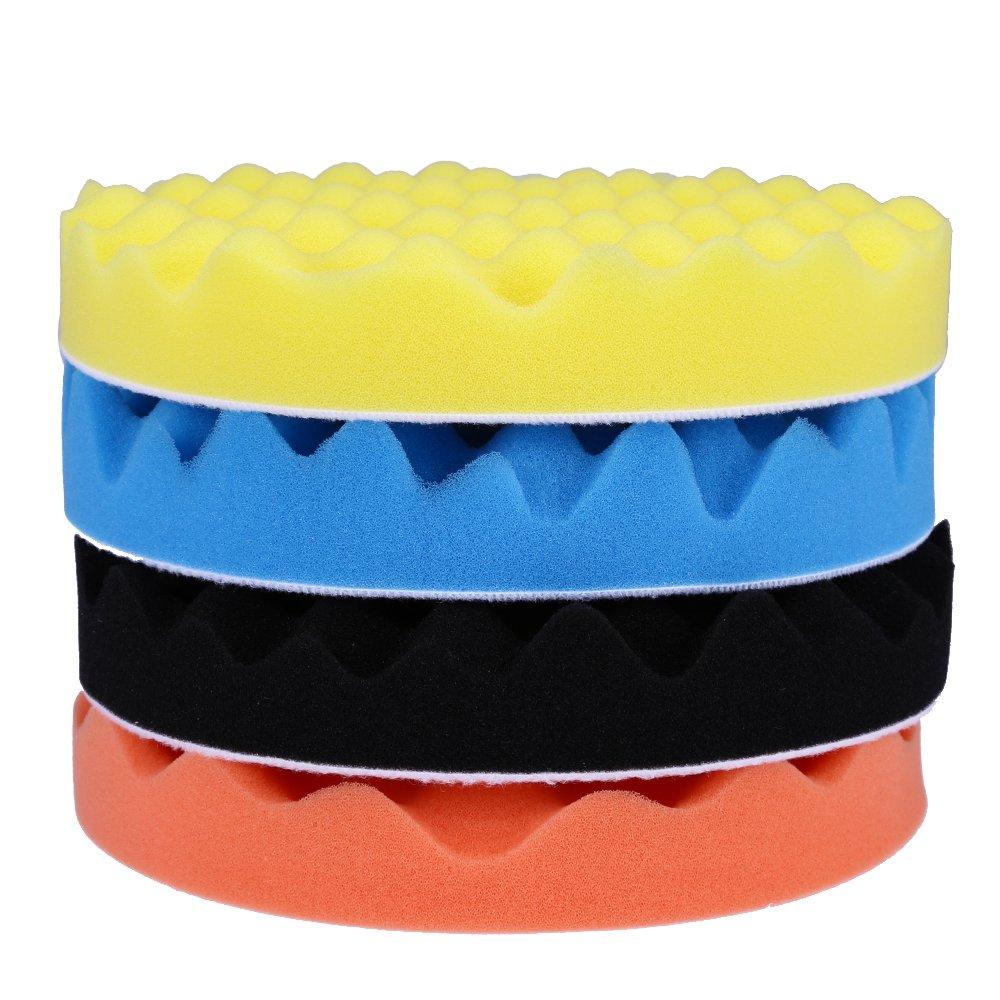QUIOSS Car Foam Drill Polishing Pad Kit 7 Inch Buffing Pads Car Polisher Pad Kit Soft Wave Foam Waffle Sponge Set (Pack of 4) by QUIOSS (Image #3)
