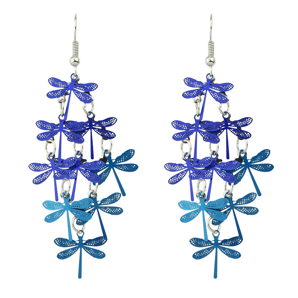 Feelontop® Bohemian Style Colorful Dragonfly Shaped Drop Earrings with Jewelry Pouch ER-5609-BLUE