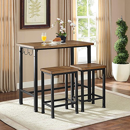 Linon Home Decor Products Pub Table Bar Set 2 Stools Chairs 3 Piece Kitchen Breakfast Nook Dining Bistro by 25 Home Decor (Image #2)