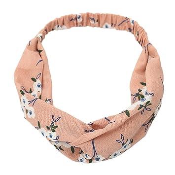 Amazon.com : Boho Elastic Headband for Women Floral Twist Knot Wrap Turban Hair Band Yoga Sports Sunmoot : Beauty