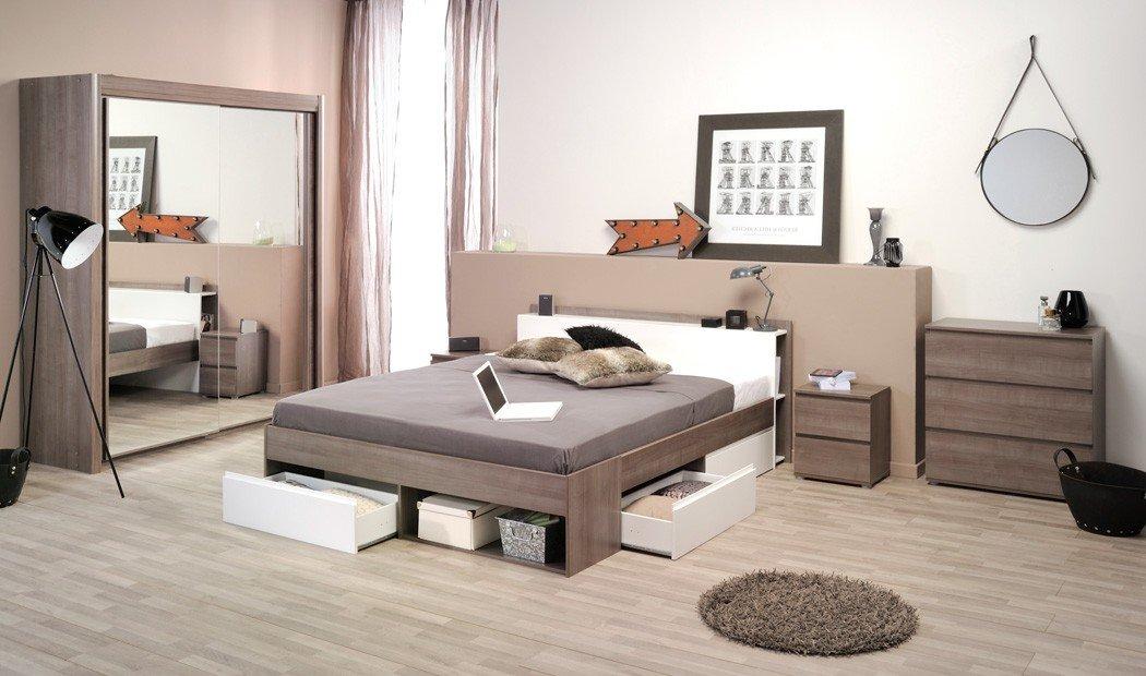 Jugendzimmer Morris 11 Eiche Bett 140x200 Kleiderschrank Kommode