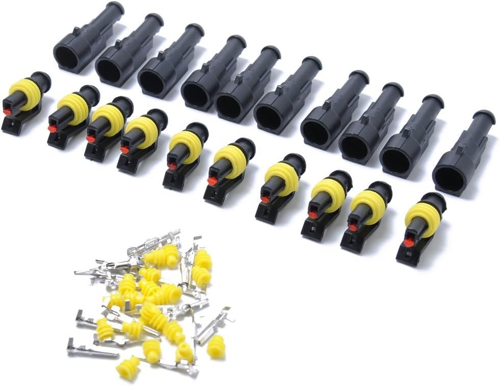 Vorcool 10 Kits 1 Poliger Kabel Steckverbinder Steckdose Set Für Motorrad Roller Auto Lkw Auto