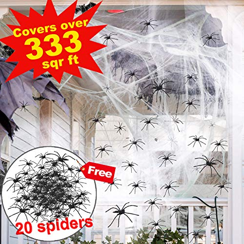 (Halloween Decoration Spider Webs Stretch 333 Sq Feet with 20 Black Spider Large Halloween Cobwebs Haunted House Decor for Outdoor Indoor Party Favors Supplies Yard Spider Webbing Scary)