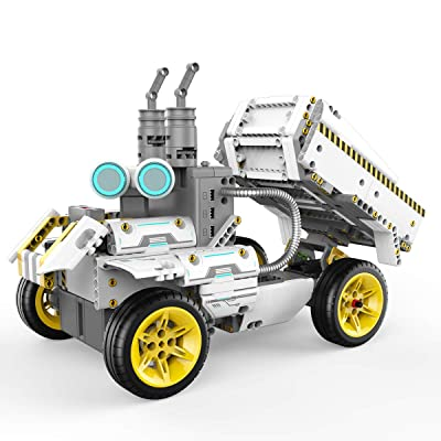 UBTECH JIMU Robot Builderbots Series: Overdrive Kit / App-Enabled Building and Coding STEM Learning Kit (410 Parts and Connectors), Yellow: Toys & Games