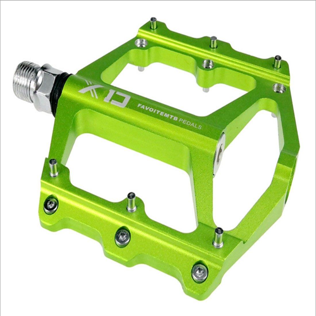 LiShihuan Mountain Bike Bearing Pedale Grüne Oberfläche Oxidation Palin Pedal Anti-Rutsch