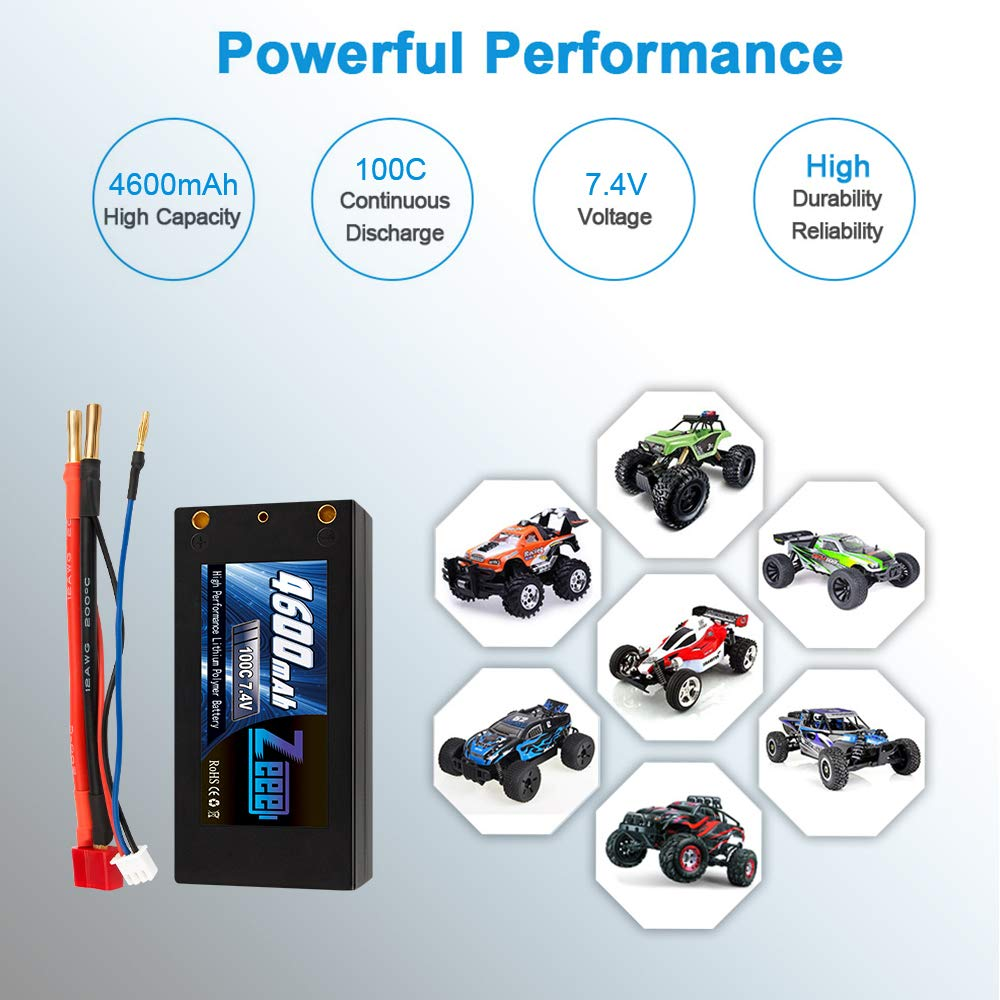 Zeee 2S Shorty Lipo 7.4V 100C 4600mAh Hardcase Lipo Battery with 4mm Bullet Deans Ultra Plug Connector for RC 1/10 Scale Vehicles Car,Trucks,Boats by Zeee (Image #6)