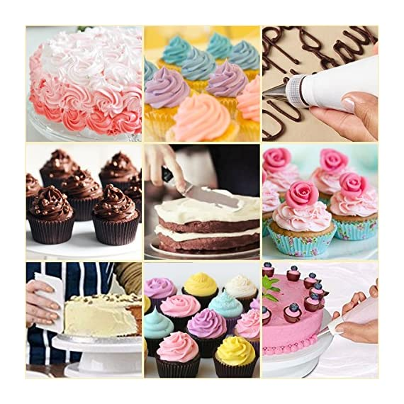 Cake Decorating Supplies 36 Pieces Cake Supplies with Revolving Plastic Turntable, 24 Stainless Steel Decorating Tips, 3 Plastic Scrapers, Icing Spatular, Pastry Bag 7 EVERYTHING NEEDED TO DECORATE CAKE - Cake turntable stand, 24 Stainless Steel icing Tip set, 1 Cake Decorating Turntable 11 inch , 1 Icing Spatula With Sided 11 inch, 1 Reusable Silicone Pastry Bags, 1 Cake Tip Brush,1 Cake Flower Lifter,1 Cake Pen, 3 Cake Scrapers, 1Piping Tip Coupler, 20 Disposable Pastry Bag. A MUST HAVE STAND FOR BAKING LOVERS - Make beautiful cakes with the Growses cake decorating supplies package. The rotating Cake decorating stand help you to easily decorate round cakes and other desserts for birthdays, parties, weddings and other events. The Round Turntable is robust, made from non sticky plastic, non-toxic, dishwasher safe, ideal for beginners as well as for professionals. MORE ICING BAGS FOR USING - 1 pastry bag and 1 disposable pastry bags, perfect for decorating with milti-color cream, Plastic Couplers can be easier to change piping tips.