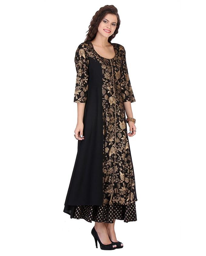 5ca6f408b0 Varanga Women s Black Rayon Printed Flared Kurta With Palazzo  Amazon.in   Clothing   Accessories