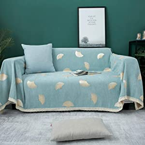 NuAnYI Chenille Dust-Proof Sofa Cover for Leather Couch, Jacquard Couch Covers Furniture Protector for Armchair Loveseat Sofa Covers Green 180x280cm(71x110inch)
