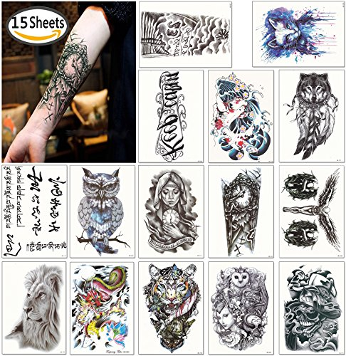 DaLin Large Temporary Tattoos Half Arm Tattoo Sleeves 15 Sheets, Robot Arm, Dead Skull, Koi Fish, Lion, Owl, Dragon, Tiger and more by DaLin Temporary Tattoo