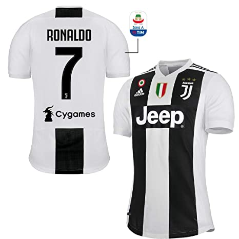 71e7e35c25f9de JUVE Maglia Ronaldo Juventus Gara Home Authentic 2018/19 Originale T-Shirt  Uomo Patch