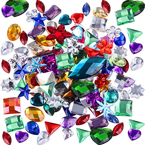 Tatuo 140 Pieces Large Gemstones Flatback Acrylic Gems Large Craft Rhinestones Embellishments Colorful Flat Back Gem Jewels for DIY Crafts, Table Scatters, Wedding, Birthday Decoration Favor (Assorted Acrylic Rhinestones)