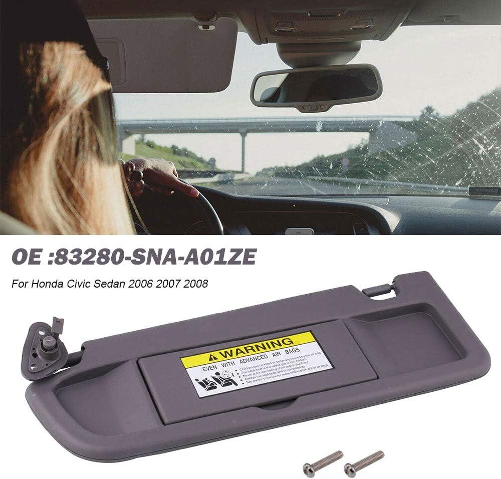 83280-SNA-A01ZE RYANSTAR RACING Gray-Dark Left Driver Side Sun Visor for Honda Civic Sedan 2006 2007 2008 with Replace