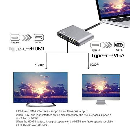 Womdee Adaptador USB C a HDMI VGA, USB Tipo C a HDMI 4K VGA ...