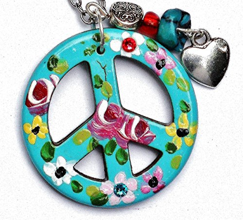 Hippie Peace Sign Necklace with Painted Flowers Genuine Turquoise Nugget and Dangling Heart Charm Boho (Painted Flower Necklace)