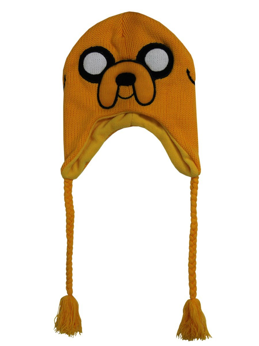 Adventure Time KC0803ADV - ADVENTURE TIME Jake Acrylic Beanie Hat with Braided Ties, Yellow (KC0803ADV)