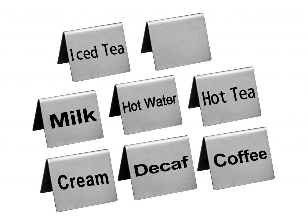 New Star Foodservice Stainless Steel Table Tent Sign Combo, Includes ''Coffee'', ''Decaf'', ''Hot Tea'', ''Iced Tea'', ''Hot Water'', ''Milk'', ''Cream'',and Blank, 2-Inch by 2-Inch, Combo Set of 8 by New Star Foodservice