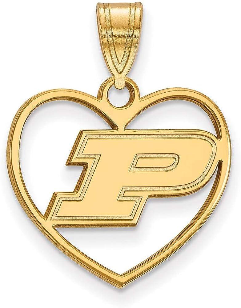 Lex /& Lu LogoArt Sterling Silver w//GP Purdue Pendant in Heart LAL140061