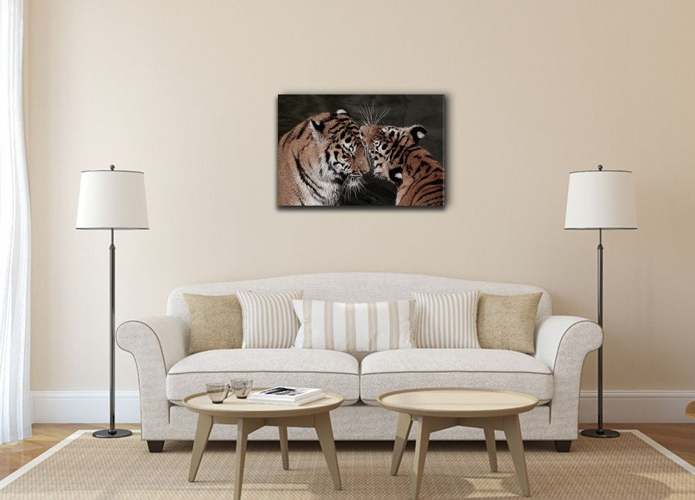 Giclee Print Gallery Wrap Modern Home Decor Ready to Hang 24x36 inches CVS-ANIMAL-2-1804A-TEAM-S06-24x36 A Lion on Balck Background wall26 Canvas Wall Art