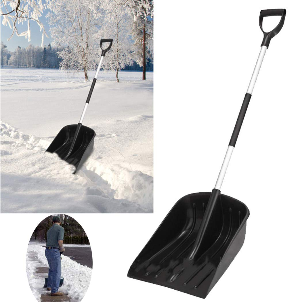 13.5'' Snow Scoop Shovel with Steel Wide Shovel Head and Plastic Handle Lightweight and Extension 131 cm Steel Handle Duty Snow Shovel for Courtyard & Road by SSCJ