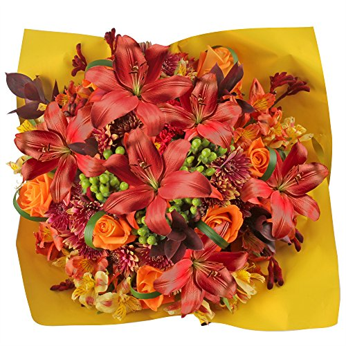 Fall Arrangement with Roses and Asiatic Lilies by BFFlowers.com