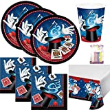Magic Party Theme Party Supplies Pack (Serves-16) Plates Napkins Cups and Tablecloth - Magicians Party Supply Tableware Supply Set Kit includes Birthday Candles