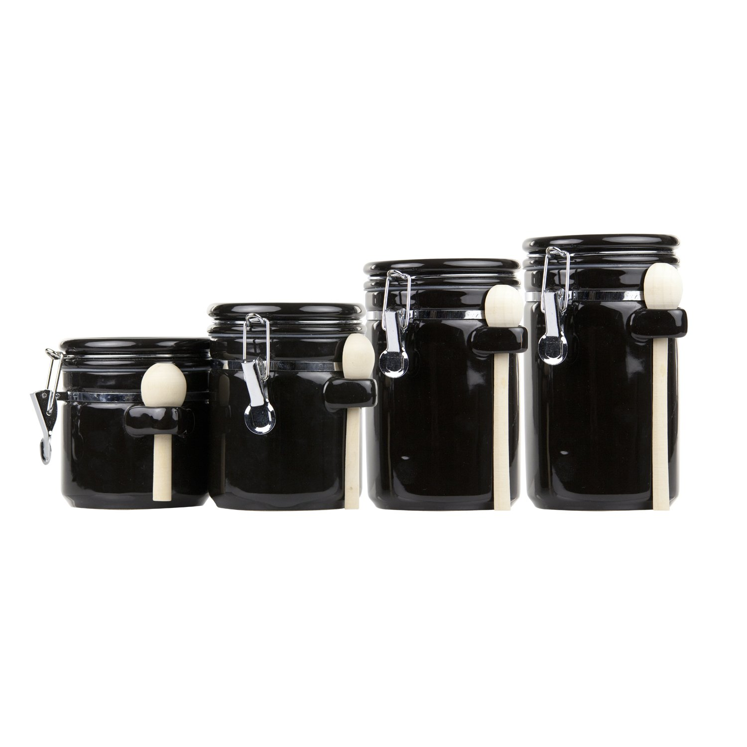 Home Basics CS44153 4 Piece Ceramic Canister Set with Spoon, Black