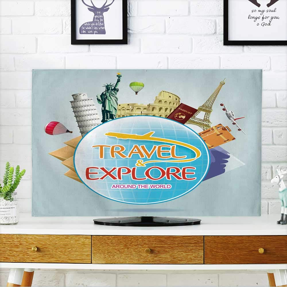 PRUNUS Cover for Wall Mount tv Travel and Explore Around The World with Globe and Iconic Landmarks and Travel Objects Cover Mount tv W19 x H30 INCH/TV 32''