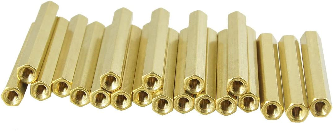 Aexit 20 Pcs Tube Fittings M3X40mm Gold Tone Female Thread Standoff Microbore Tubing Connectors Hexagonal Spacer