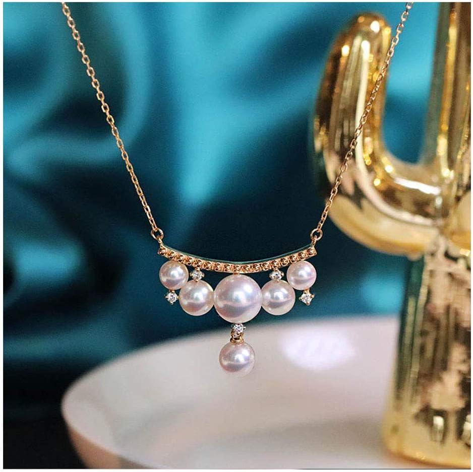 Elegante Serie Princesa Natural Perla De Agua De Mar Colgante Akoya Blanca Perla Colgante Collar con Oro De 18 Quilates Cadena