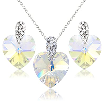 a1351eb60 PRETTY RAINBOW HEART NECKLACE AND EARRING SET WITH WHITE SWAROVSKI ELEMENT  CRYSTALS - GIFT PRESENT FOR HER: Crystal Elegance UK: Amazon.co.uk:  Jewellery