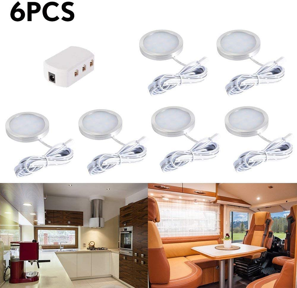 6pcs Bajo Luz de Gabinete Luz Mueble Cocina Techo Spot Luces con Adaptador de divisor para muebles DC 12V RV LED Luces de Armario Empotrable Campista Caravana Barco Cocina(Blanco Cálido)