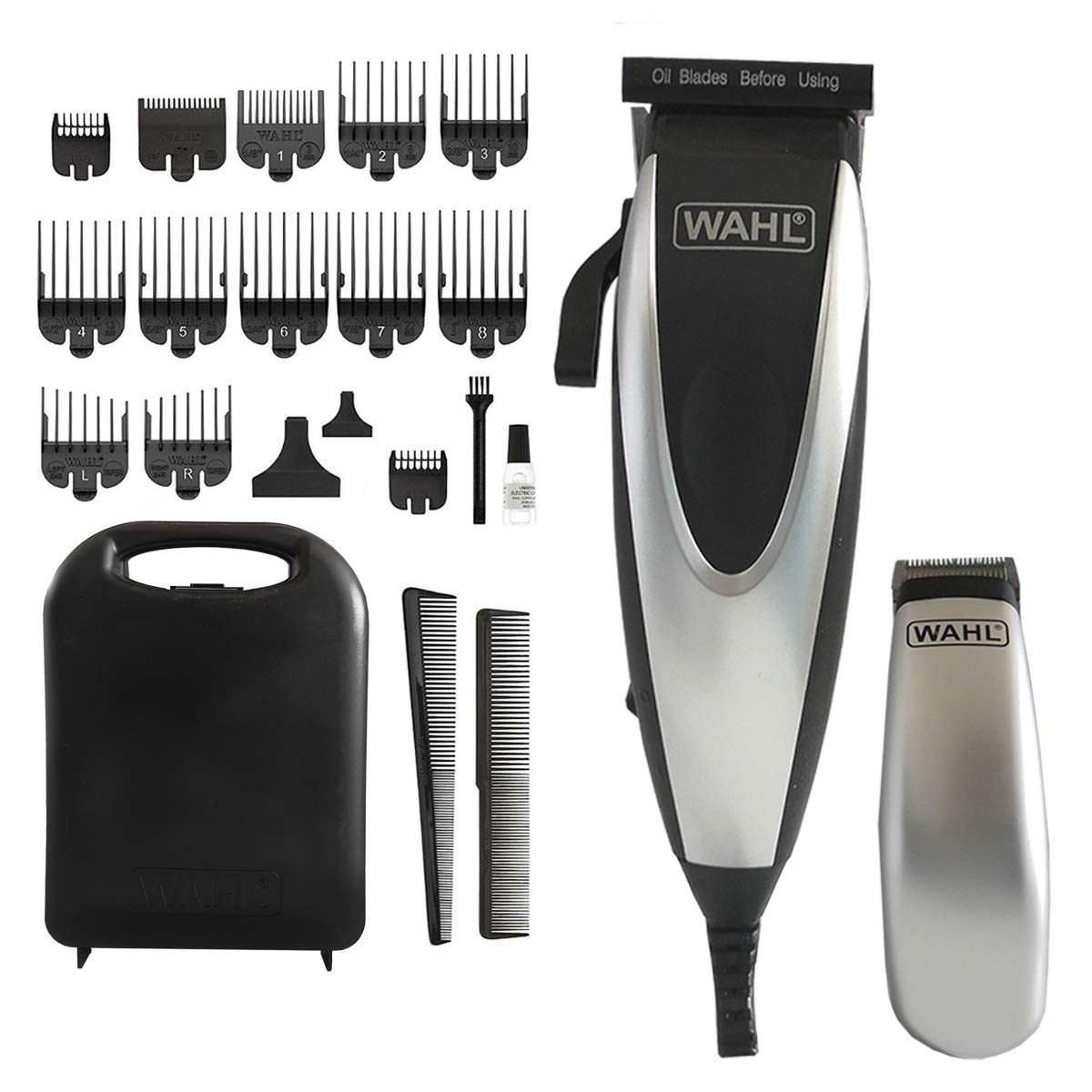Wahl - Home Pro Combo 24 Pieces Kit - Black/Silver Complete Haircutting & Touch-UP Kit
