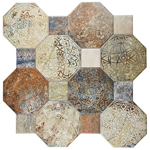 """SomerTile FCG18SXD Silema Ceramic Floor and Wall Tile, 17.75"""" x 17.75"""", Beige/Brown/Grey/Blue/Green"""