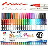 Smart Color Art Dual Tip Brush Pens with Fineliner Tip 0.4 Art Markers (48 Unique Colors) Double tip Pens Set for Adult Coloring Books, Bullet Journal, Calligraphy, Drawing