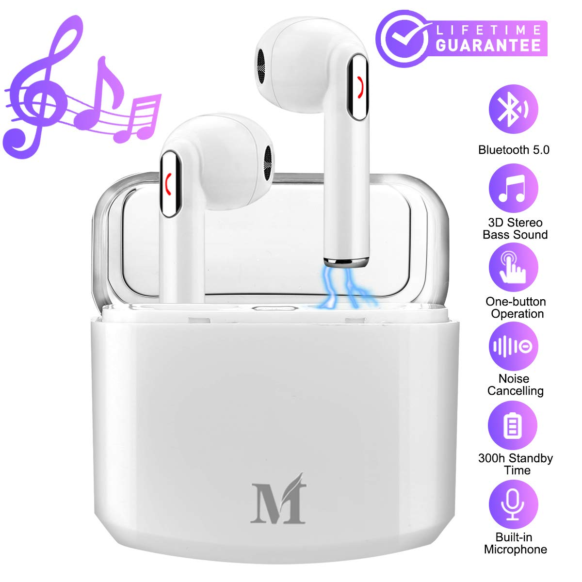 Wireless Earbuds,Bluetooth Earbuds Wireless Earphones Noise Cancelling with Mic Charging Case,Sport Running Mini True Stereo Earbuds Bluetooth Compatible iOS Android Samsung Huawei Phones X 8 7