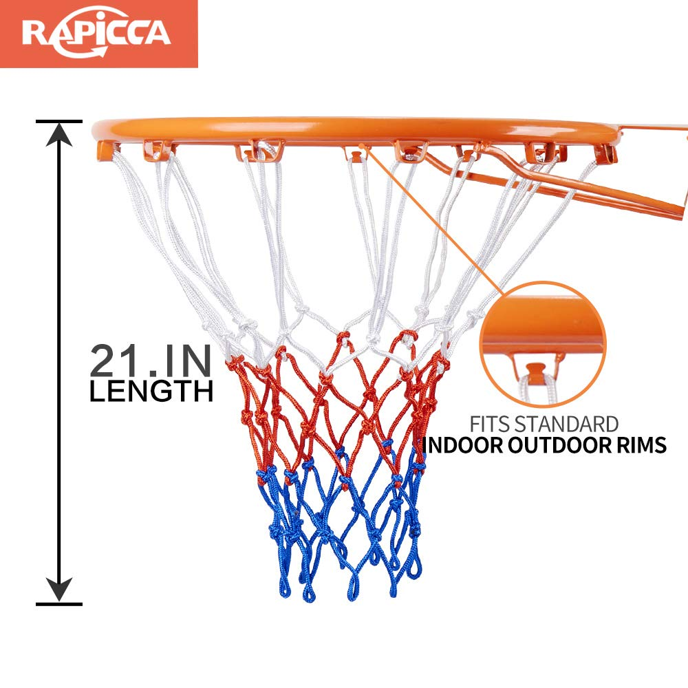 RAPICCA Heavy Duty Basketball Net Replacement 2 Packs- All Weather Anti Whip 12 Loops White//Red//Blue Fits Standard Indoor or Outdoor Rims