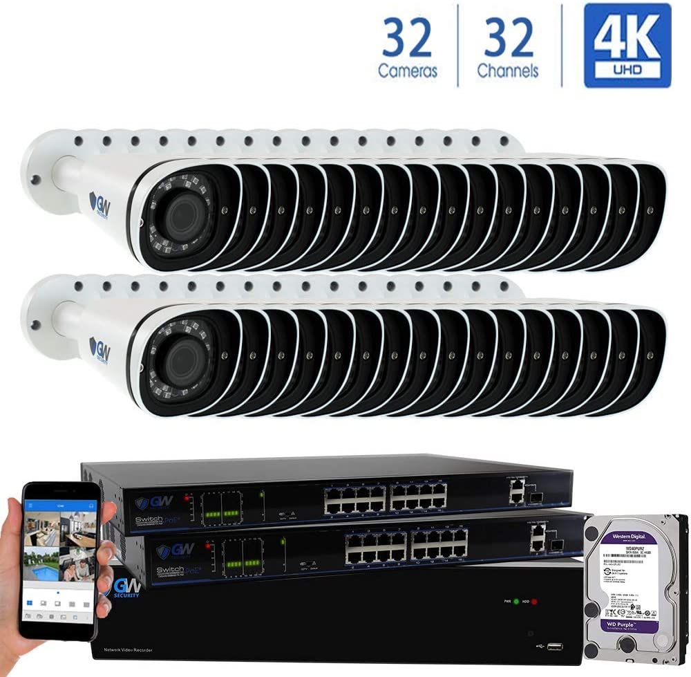 GW 32 Channel 8MP UltraHD 4K 3840×2160 Audio Video Motorized Zoom Home NVR Security System – 32 x Bullet 8 Megapixel 2.8-8mm 3X Optical Zoom Waterproof IP PoE Cameras Built-in Microphone